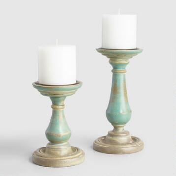 Antique Blue and Gray Wood Mallory Pillar Candleholder